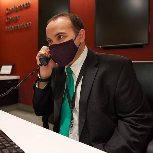 Administrative employee answering phone call
